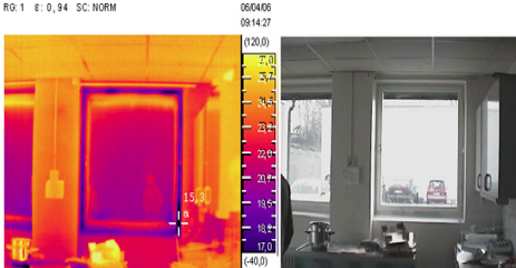 Infrared pictures of heat loss through windows